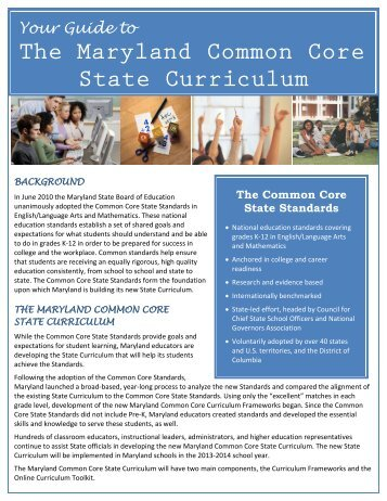 Your Guide to The Maryland Common Core State Curriculum