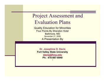 Project Assessment and Evaluation Plans