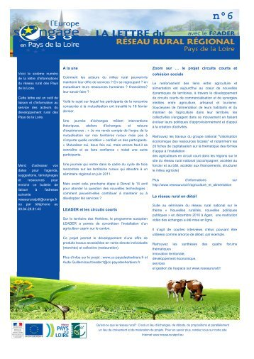 Lettre d'informations du Réseau rural régional n
