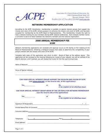 Network Member Application - ACPE