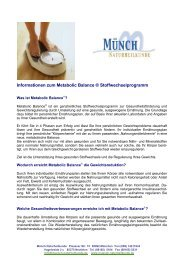 Informationen zum Metabolic Balance ® Stoffwechselprogramm
