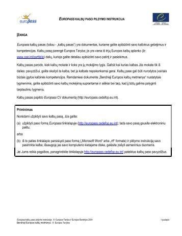 Europass kalbų paso pildymo instrukcija