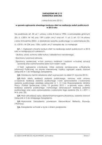 Treść Zarządzenia - Biuletyn Informacji Publicynej Gminy Barcin