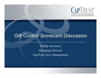 Gift Control Scorecard Discussion