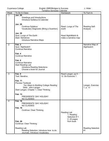 Tentative Class Schedule - Cuyamaca College