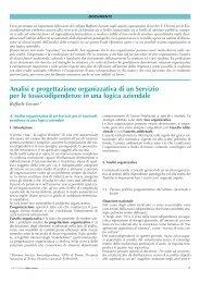 Analisi e progettazione organizzativa di un Servizio per le ...