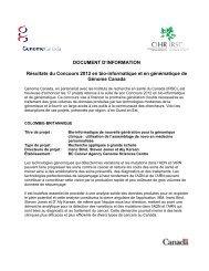 Document d'information – liste des projets - Genome Canada