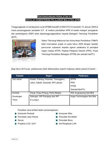 Penyenggaraan ICT Sekolah KPM - Bahagian Teknologi Pendidikan