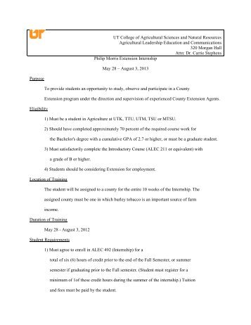 Philip Morris Internship Application for 2013 - Agricultural ...