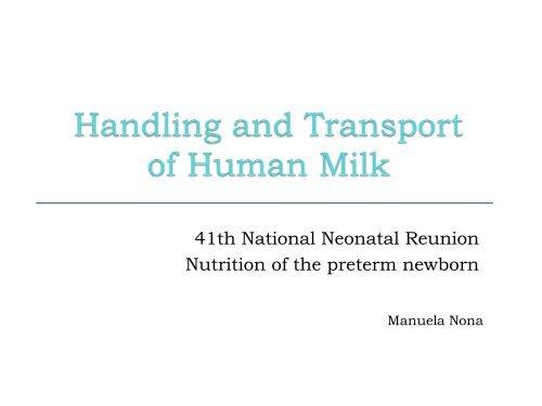 Handling and Transport of Human Milk Milk