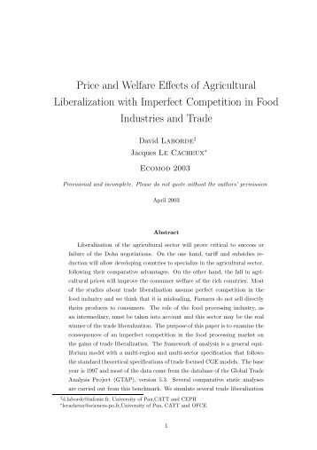 Price and Welfare Effects of Agricultural Liberalization with Imperfect ...