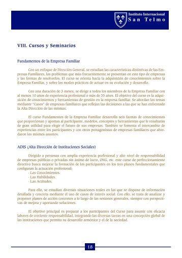 18 VIII. Cursos y Seminarios - Instituto Internacional San Telmo