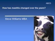 How has mastitis changed over the years? - Steve Williams – Sales ...