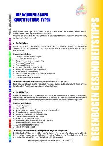 Die ayurvedischen Konstitutionstypen