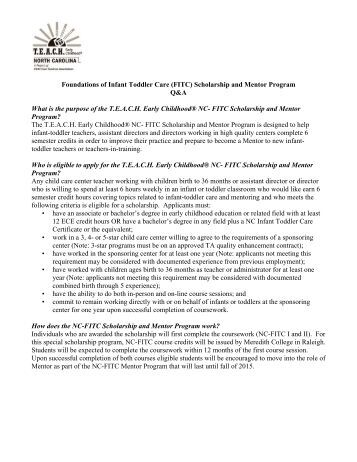 Foundations of Infant Toddler Care (FITC) - Child Care Services ...