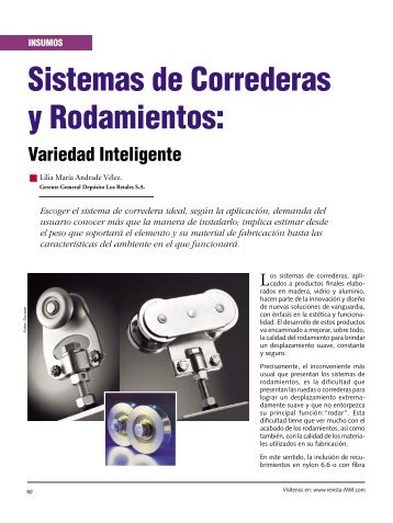 Insumos Sistemas de Correderas y Rodamientos - Revista El ...