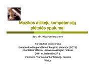 Muzikos atlikėjų kompetencijų plėtotės ypatumai - ECTS