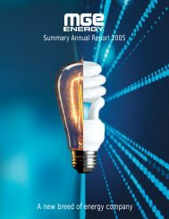 MGE Energy Summary Annual Report 2005