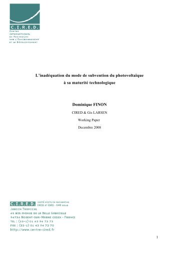 WP Finon Photovoltaic tarif CIRED LARSEN - Centre International ...