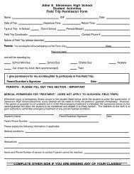 Field Trip Permission Slip - Adlai E. Stevenson High School