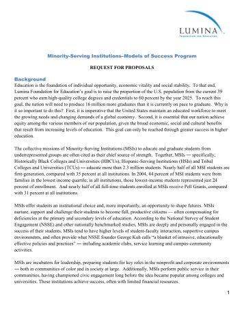 Minority-Serving Institutions—Models of Success Program - Lumina ...