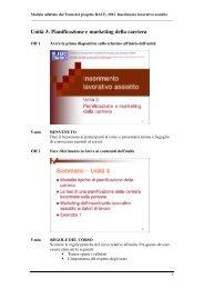 Unità 3: Pianificazione e marketing della carriera
