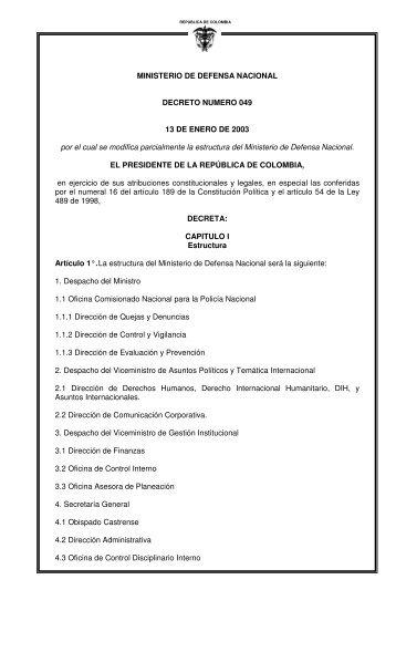 MINISTERIO DE DEFENSA NACIONAL DECRETO ... - UN Virtual