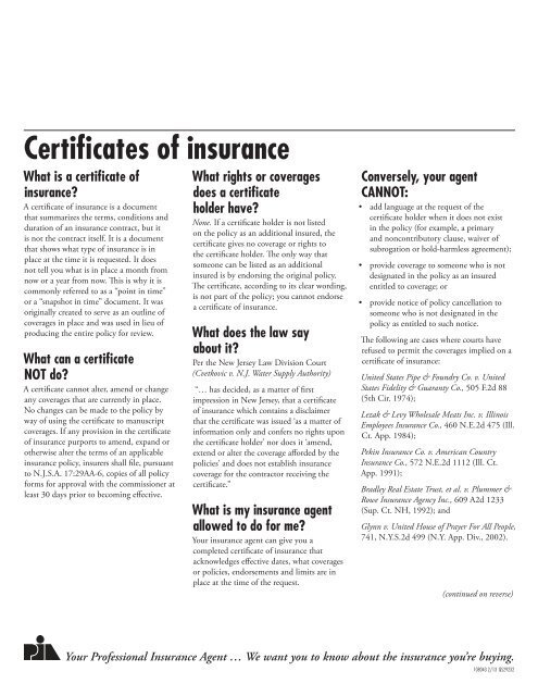 'NJ certificate of insurance'. - Professional Insurance Agents