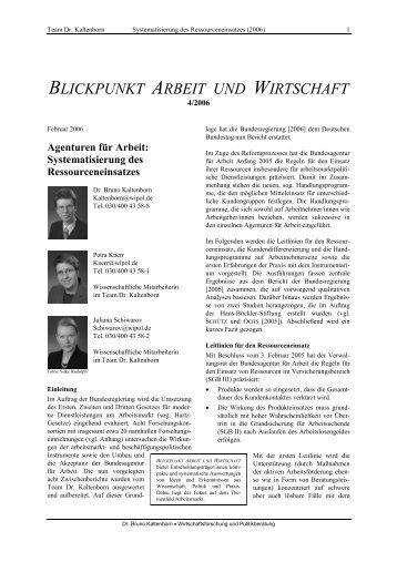 Agenturen für Arbeit: Systematisierung des Ressourceneinsatzes