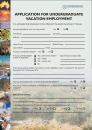 Application for undergrad vac employment - PIRSA - SA.Gov.au