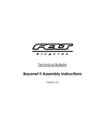 Bayonet 2 Assembly Instructions - Felt Bicycles