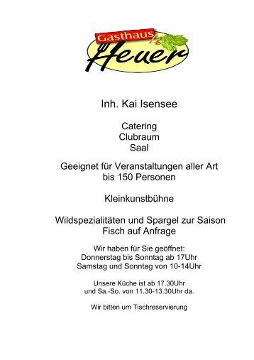 Speisekarte - Gasthaus Heuer
