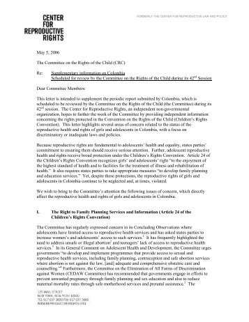 May 5, 2006 The Committee on the Rights of the Child (CRC) Re ...