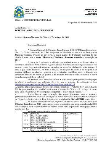 Minuta do OF/DREA/GAB/CIRC/Nº415/2011 - Diretoria Regional de ...