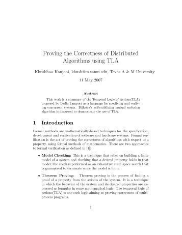 Proving the Correctness of Distributed Algorithms using TLA