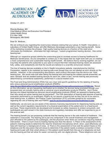 Letter to Rhonda Medows, MD, Chief Medical Officer and Executive ...