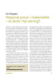 Nasjonal prøve i matematikk – et skritt i feil retning?