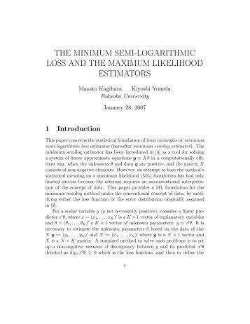 the minimum semi-logarithmic loss and the maximum likelihood ...