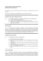 REGULATIONS FOR THE DEGREE OF - Faculty of Law, The ...