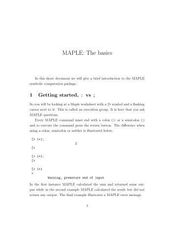 MAPLE: The basics
