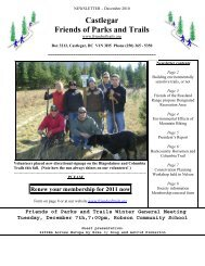 December 2010 - Castlegar Friends of Parks and Trails