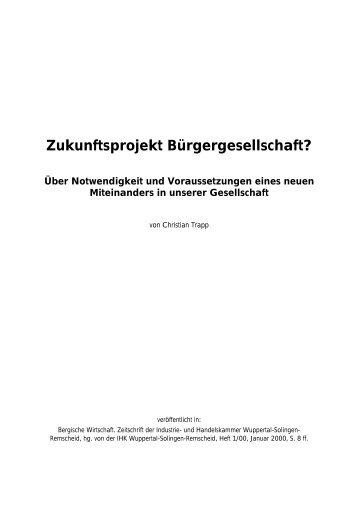 Zukunftsprojekt Bürgergesellschaft? - Trapp und Partner