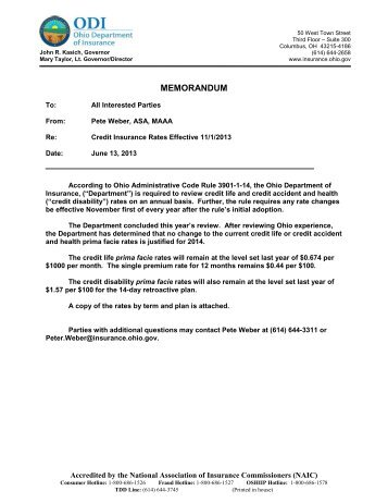 Credit Insurance Rate Modification Effective Nov. 1, 2013 - Ohio ...