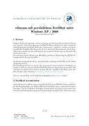 eduroam mit persönlichem Zertifikat unter Windows XP ... - HU Berlin