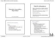 Evaluation de procédure diagnostique Objectifs pédagogiques