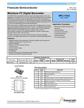 MPL115A2, Miniature I2C Digital Barometer