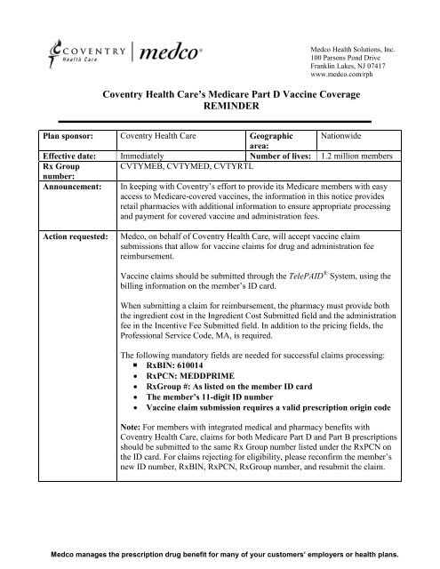 Coventry Health Care's Medicare Part D Vaccine Coverage