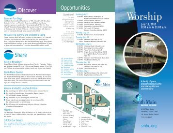 Opportunities Discover Share - South Main Baptist Church