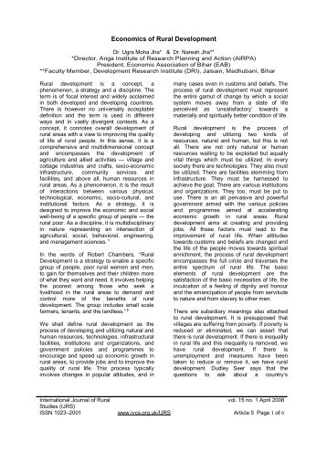 5. Economics of Rural Development - Volunteers for Rural India