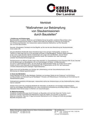 Immissionsschutz - Merkblatt Staubimmissionen durch Baustellen